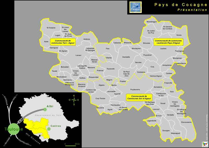 les communes et les intercommunalités qui composent le pays de cocagne