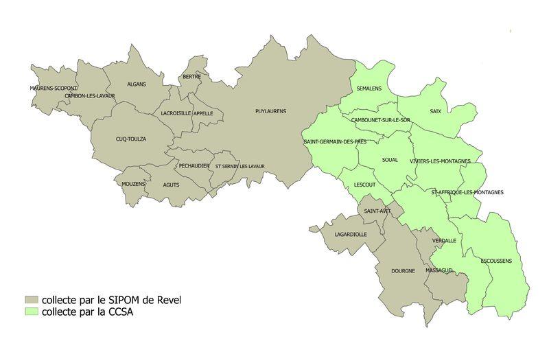 carte des communes collectées par la CCSA et par le SIPOM